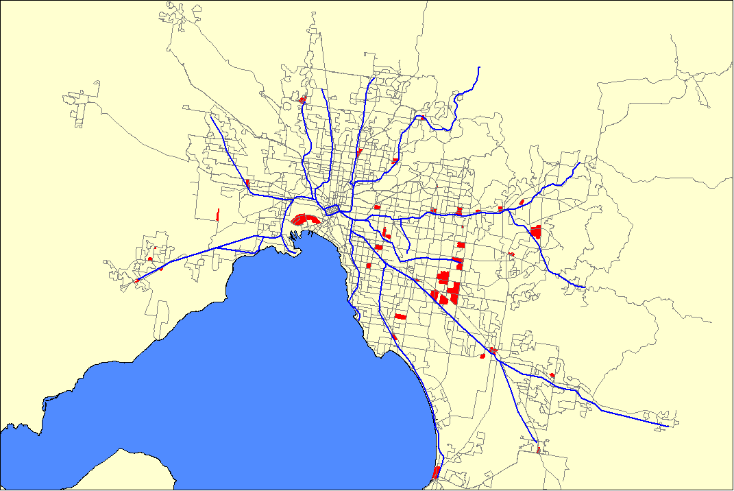 Transport mode share to employment areas in Melbourne 2006 ...