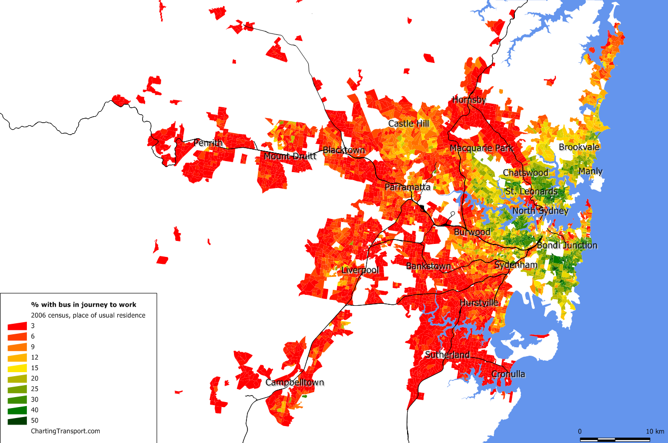 How did Sydney get to work in 2006 Charting Transport