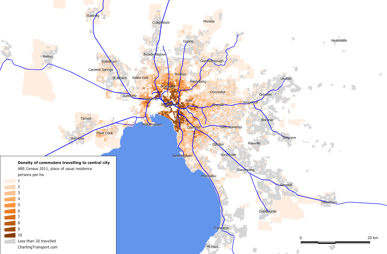 Melb 2011 density of central city workers