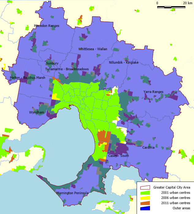 Which australian city is sprawling the most charting transport the area in the middle is mostly shaded green land considered by the abs to be urban since at least 2001 there are a few yellow and orange areas gumiabroncs Images