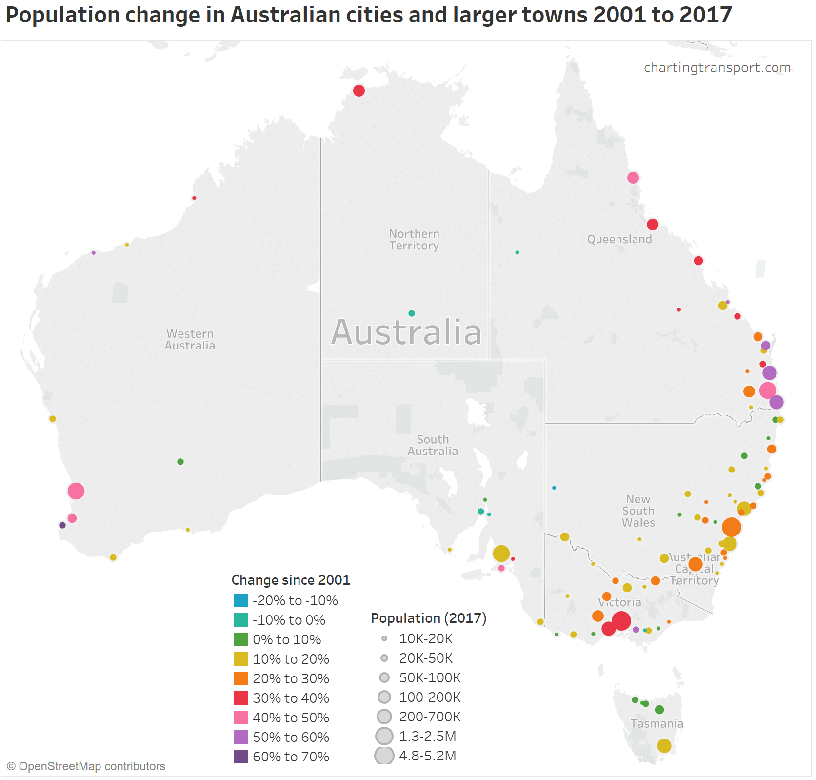 Australia Map 2017.Where Is Population Growth Happening In Australia Charting Transport